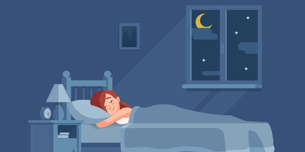 lady sleeping under duvet at night waking up in morning and sitting vector id958891456 1